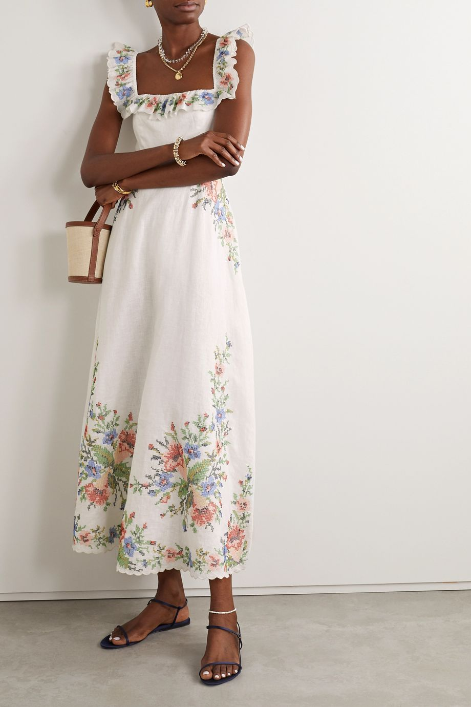 Zimmermann Juliette scalloped embroidered linen midi dress