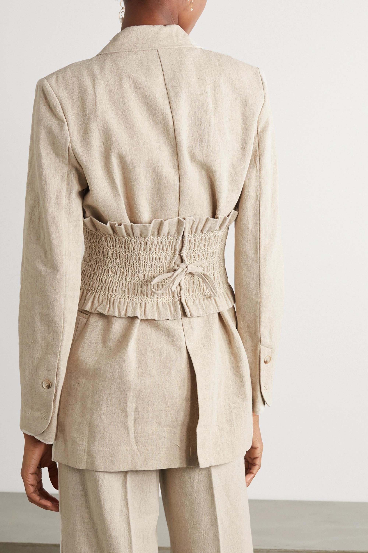 Holzweiler Sagene belted double-breasted cotton and linen-blend blazer
