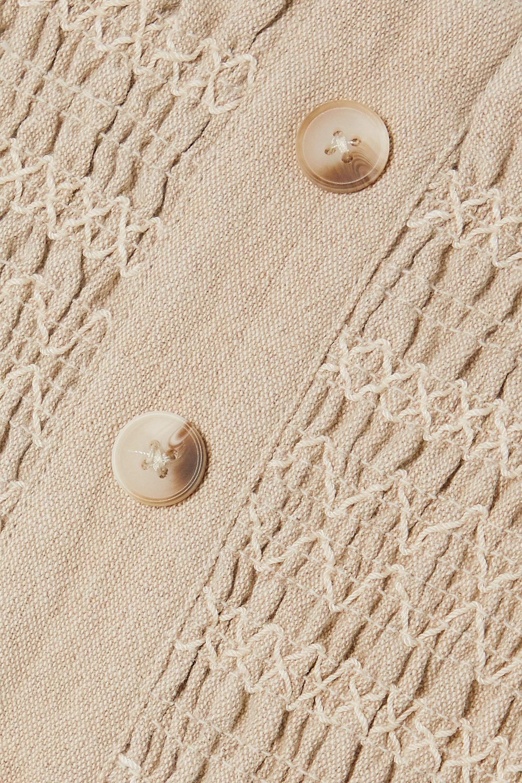 Holzweiler Ruffled shirred cotton and linen-blend top