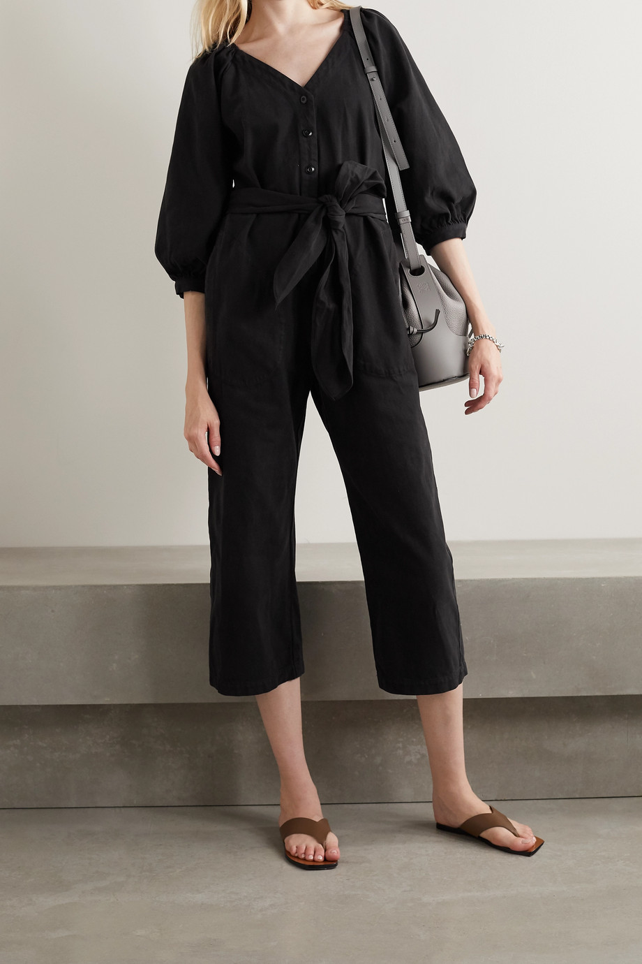 The Great The Field belted cotton-twill jumpsuit