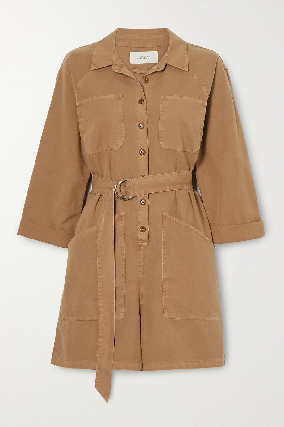 The Great The Short belted pleated cotton playsuit