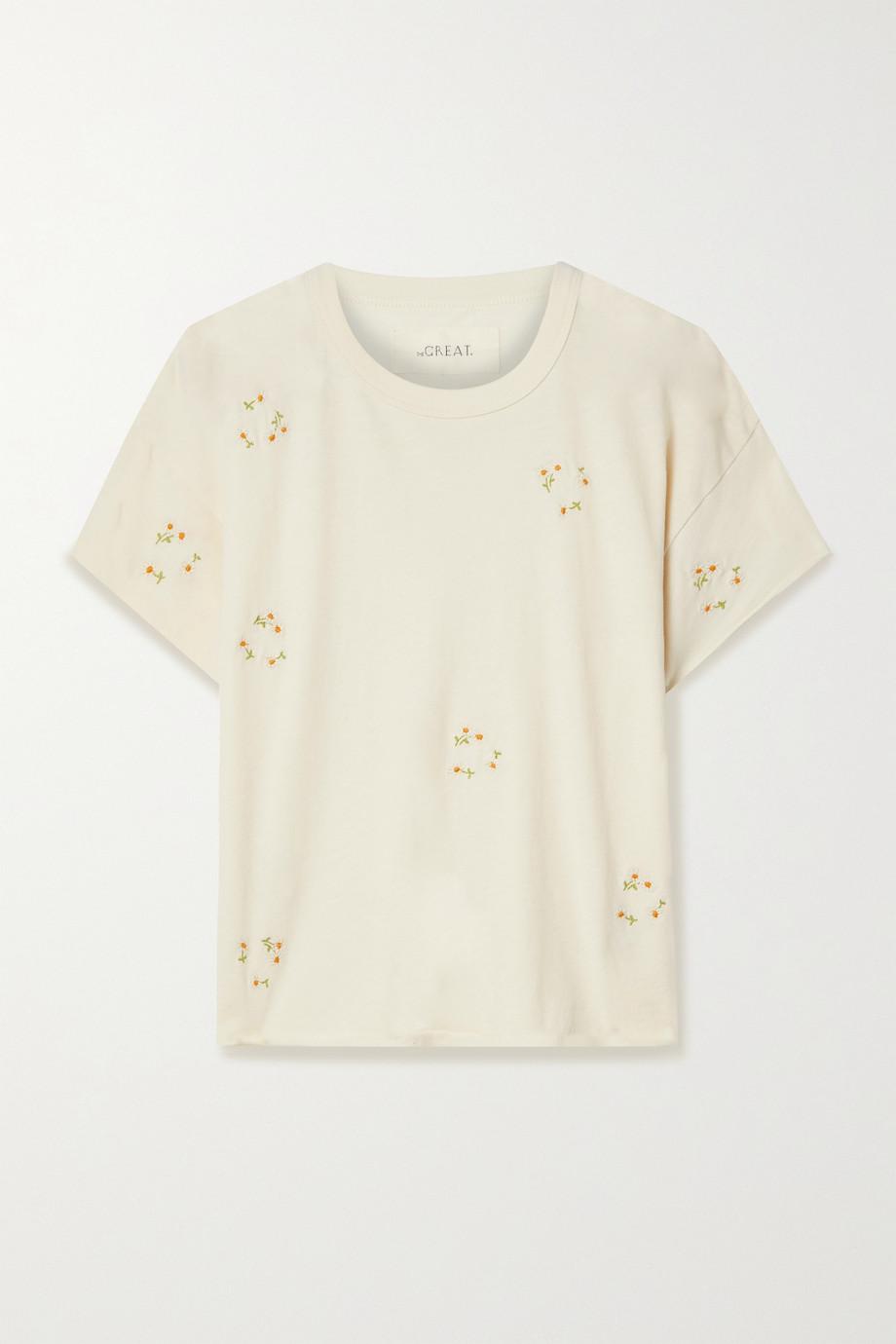 The Great The Crop T-Shirt aus Baumwoll-Jersey mit Stickereien