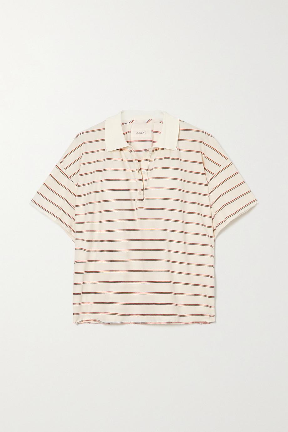 The Great Verkürztes Polohemd aus gestreiftem Baumwoll-Jersey