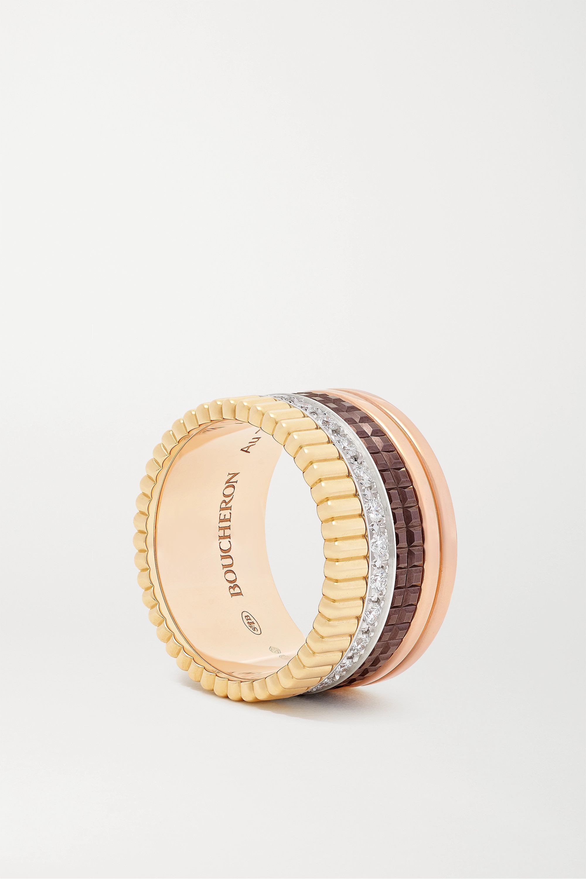 Boucheron Quatre Classique Large 18-karat yellow, white and rose gold, PVD and diamond ring