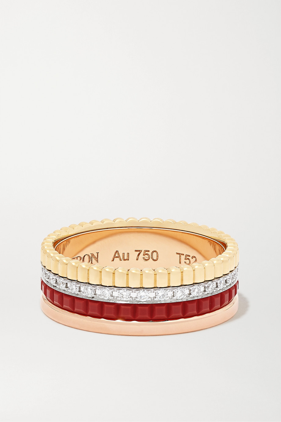 Boucheron Quatre Red Edition Small 18-karat yellow, white and rose gold, ceramic and diamond ring