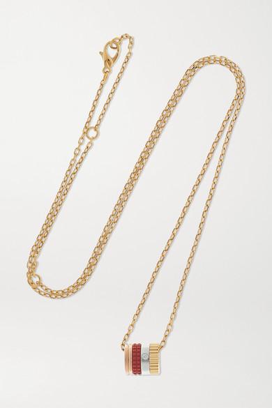 Boucheron Quatre Red Edition 18-karat yellow, white and rose gold, ceramic and diamond necklace