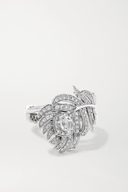 Plume de Paon small 18-karat white gold diamond ring