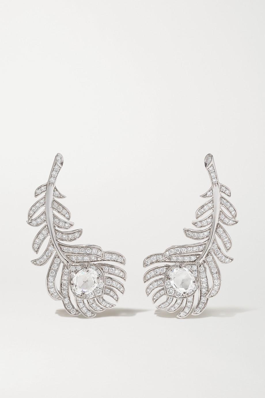 Boucheron Plume de Paon 18-karat white gold diamond earrings
