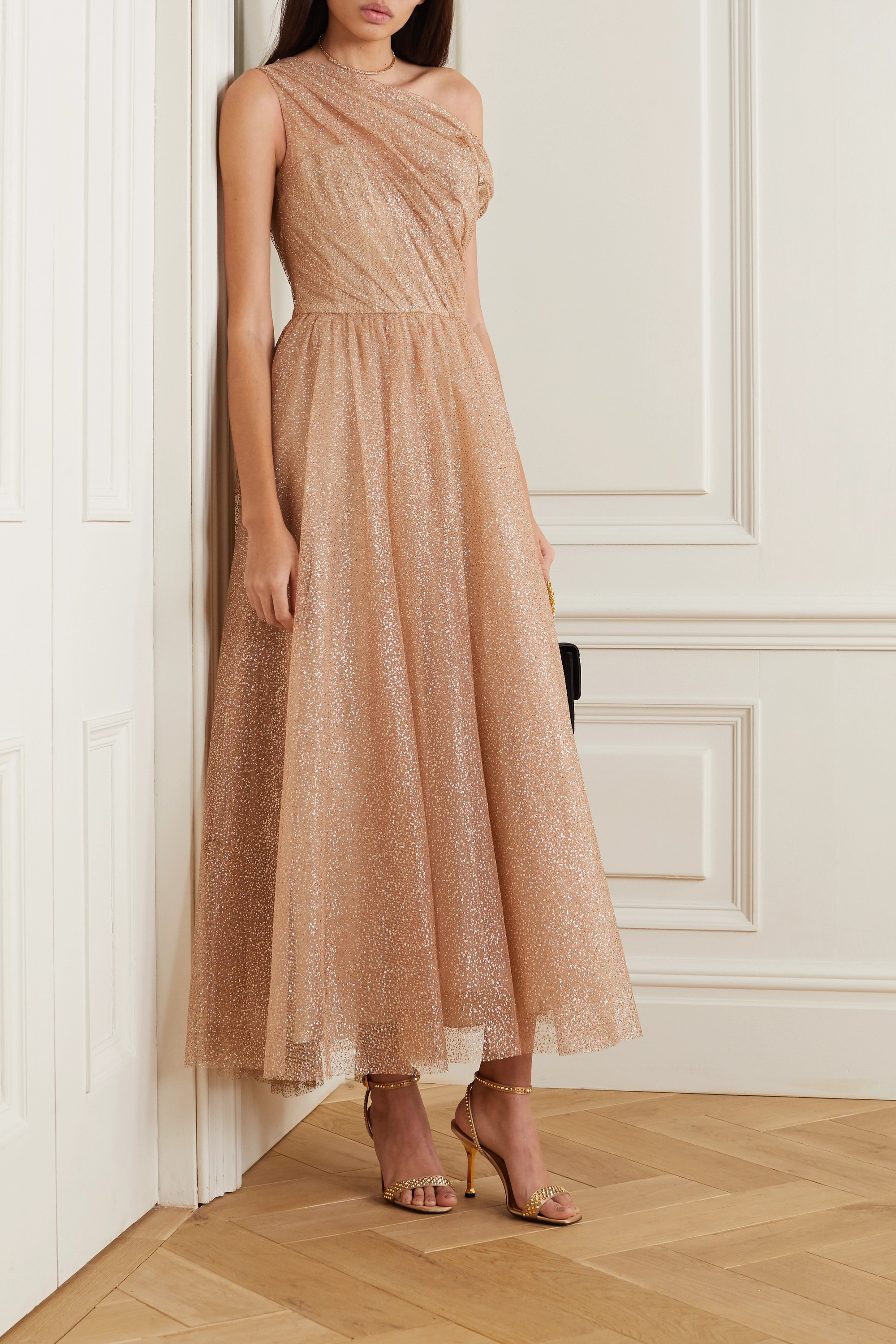 Monique Lhuillier One-shoulder glittered tulle gown