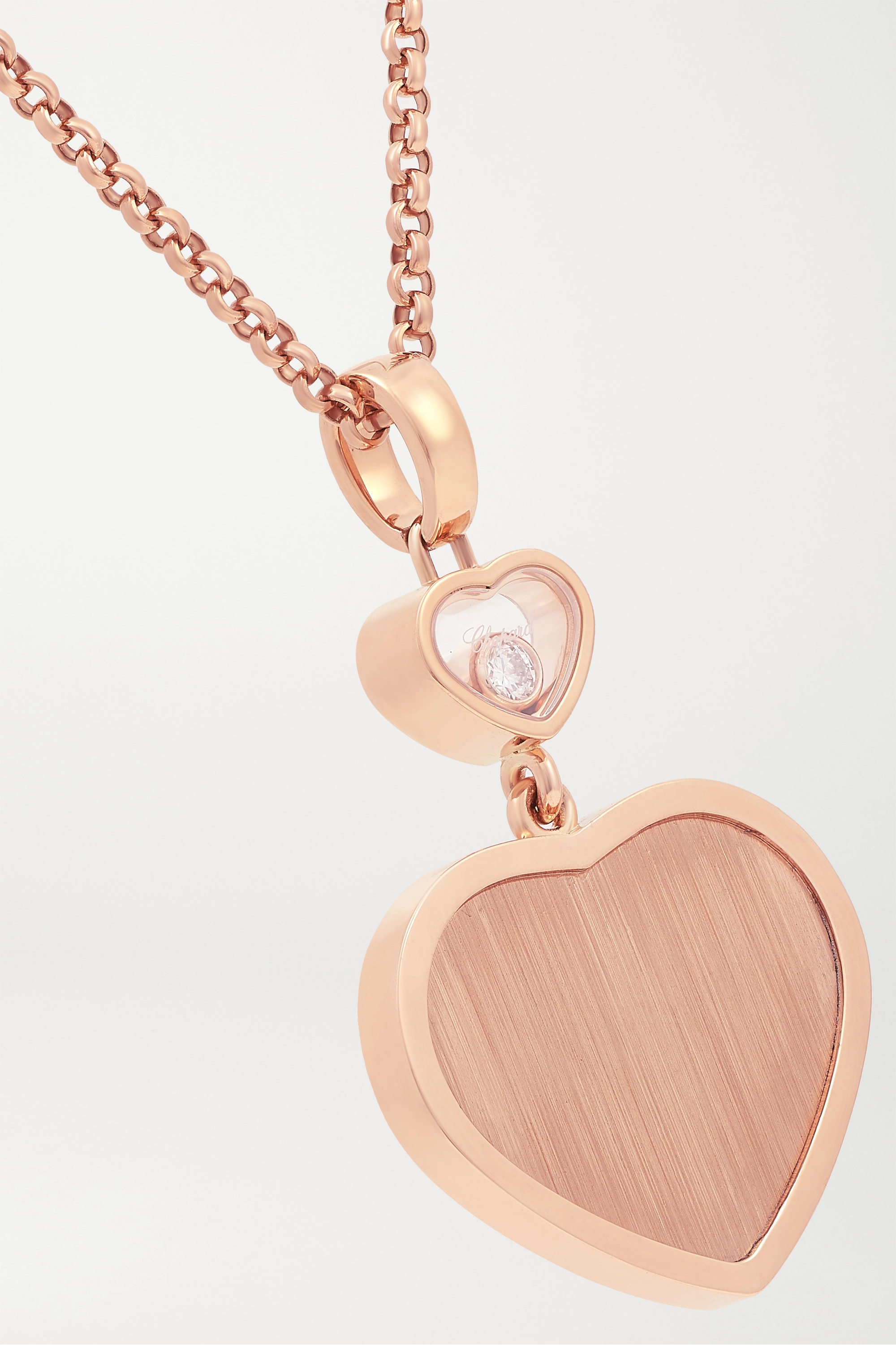 Chopard + 007 Happy Hearts Golden Hearts 18-karat rose gold diamond necklace