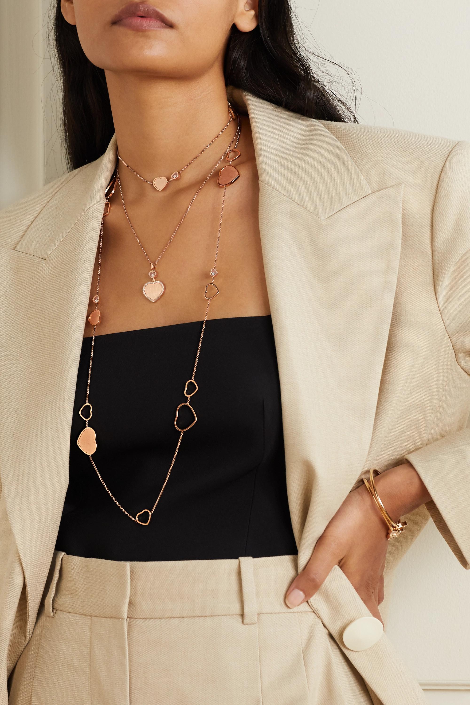 Chopard + 007 Happy Hearts Golden Hearts 18-karat rose gold diamond necklace