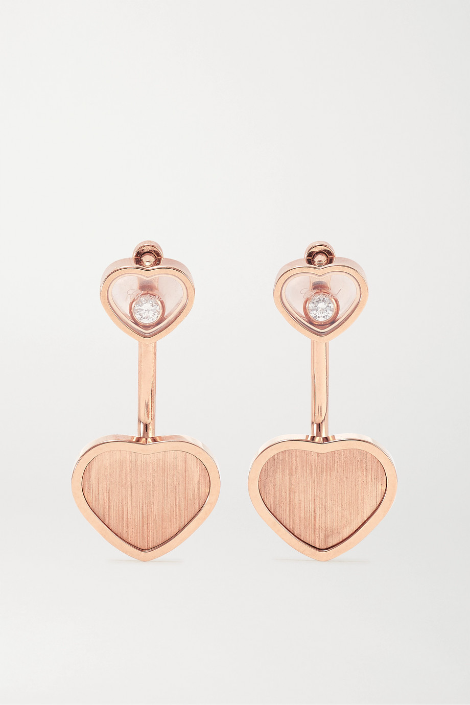 Chopard + 007 Happy Hearts Golden Hearts 18-karat rose gold diamond earrings