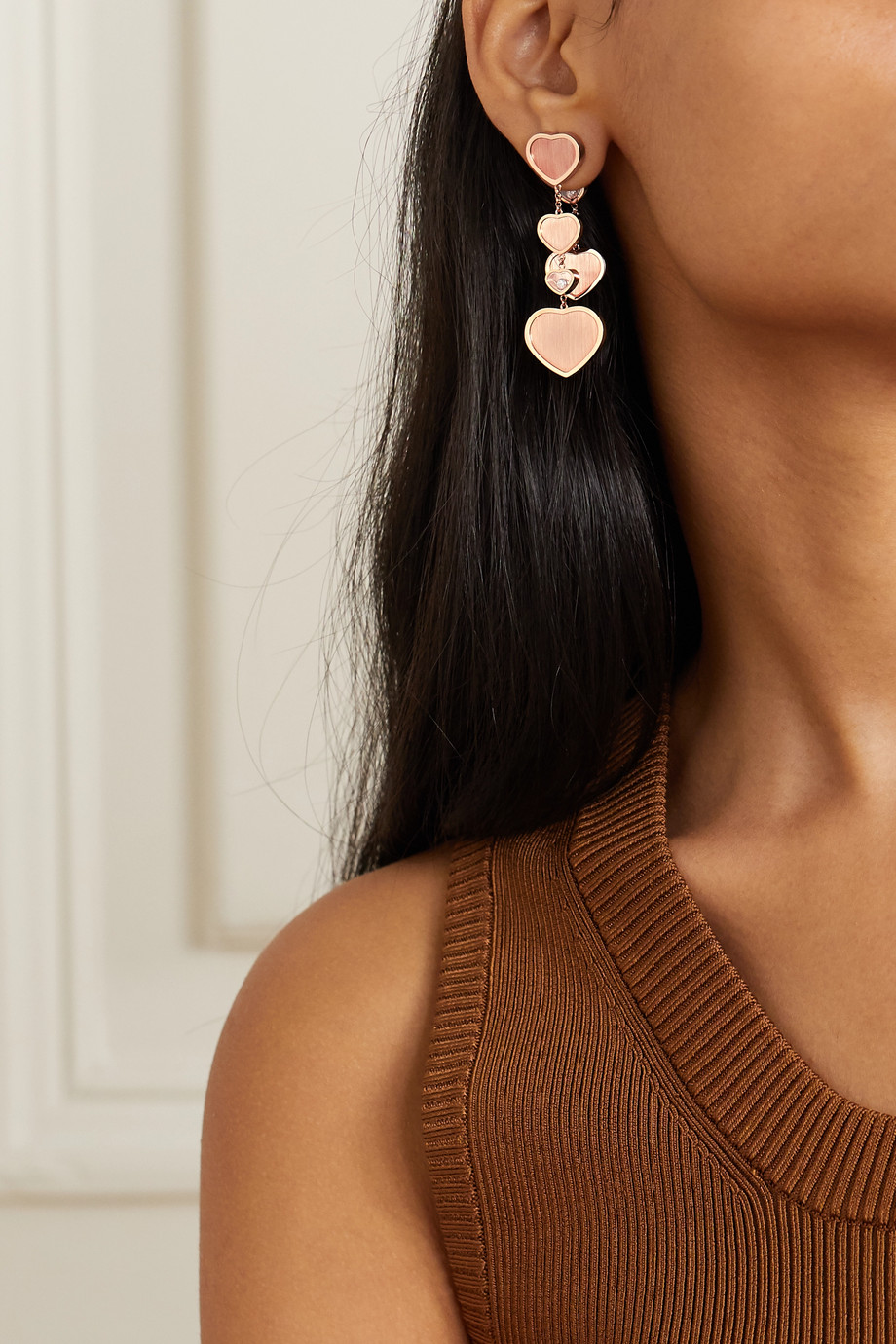 Chopard Boucles d'oreilles en or rose 18 carats et diamants Happy Hearts Golden Hearts x 007