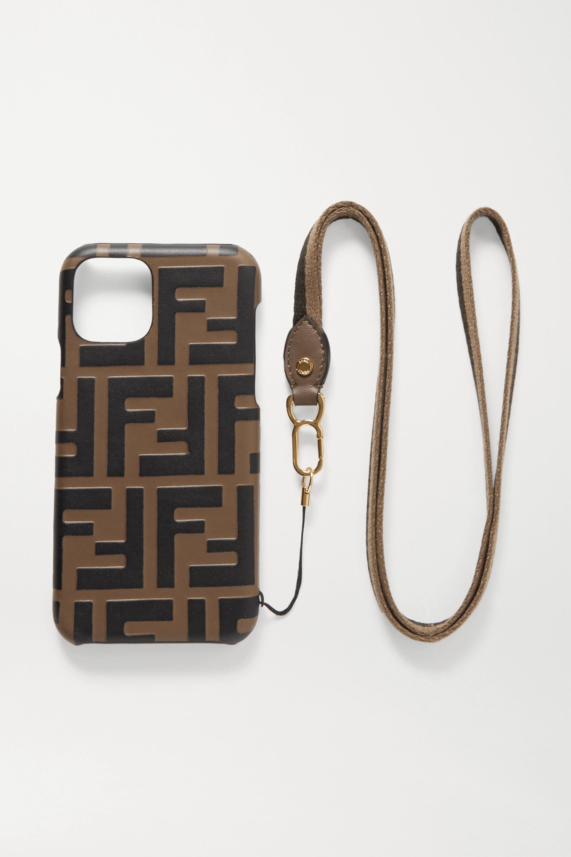 Fendi iPhone 11 Pro-Hülle aus geprägtem Leder mit Besatz aus Canvas
