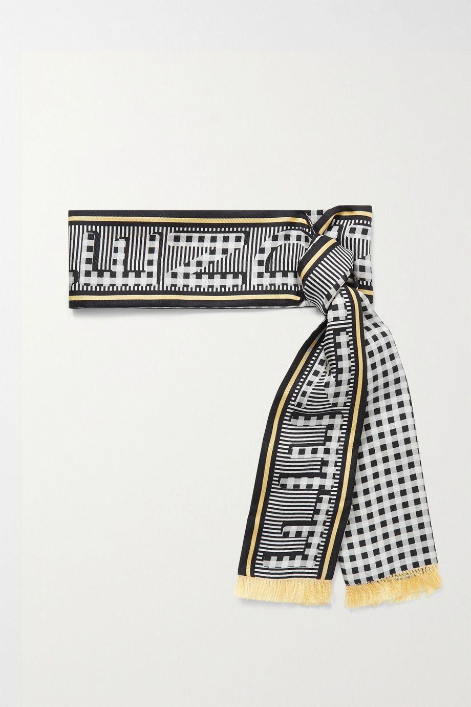 Fendi Fringed printed silk-twill scarf
