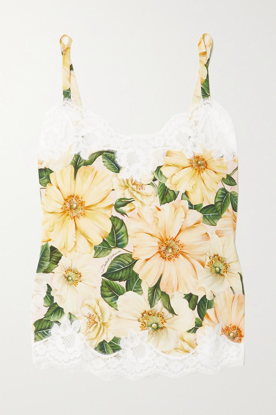 Dolce & Gabbana Top aus Seidensatin mit Blumenprint und Spitzenbesätzen