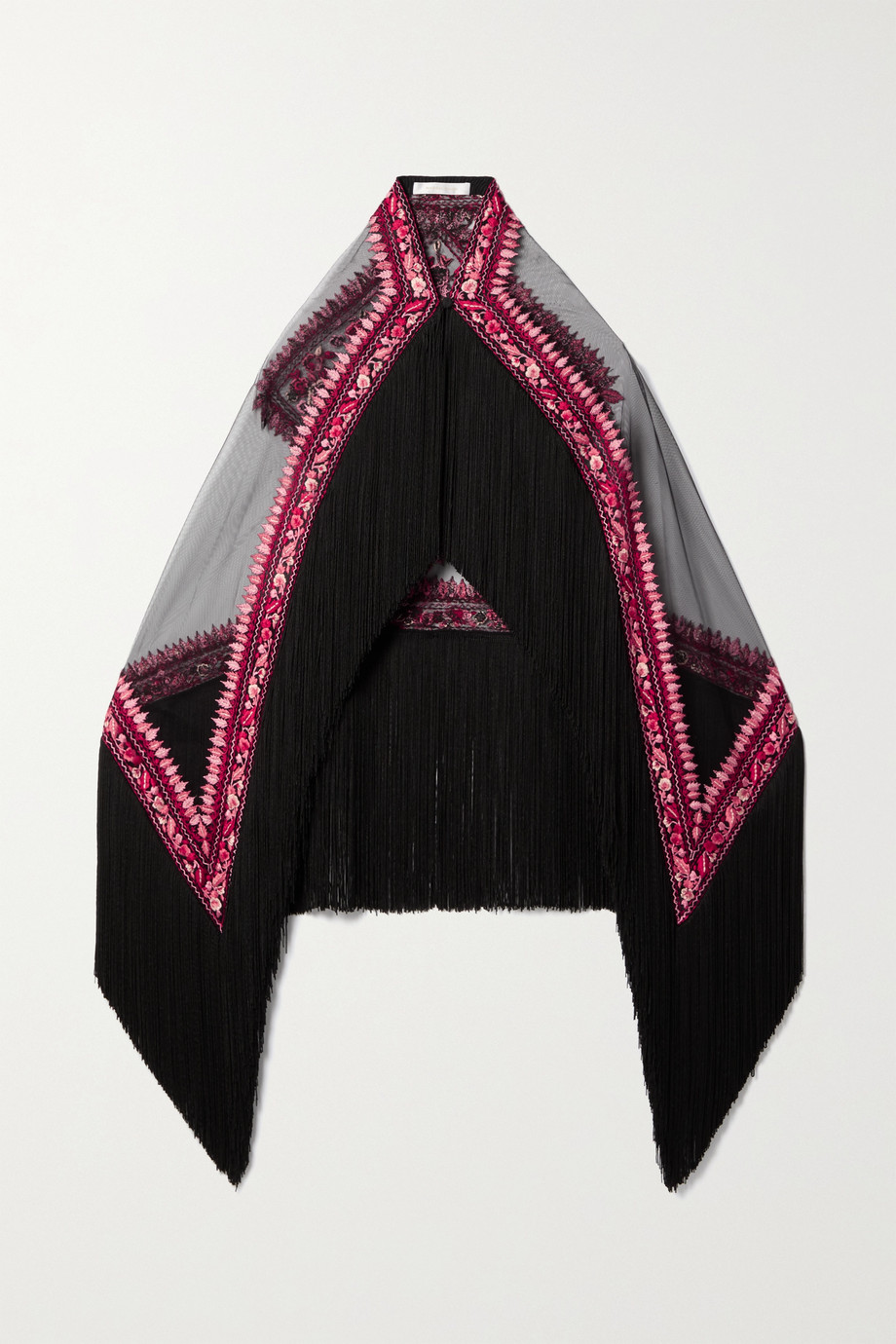 Naeem Khan Fringed embroidered tulle cape