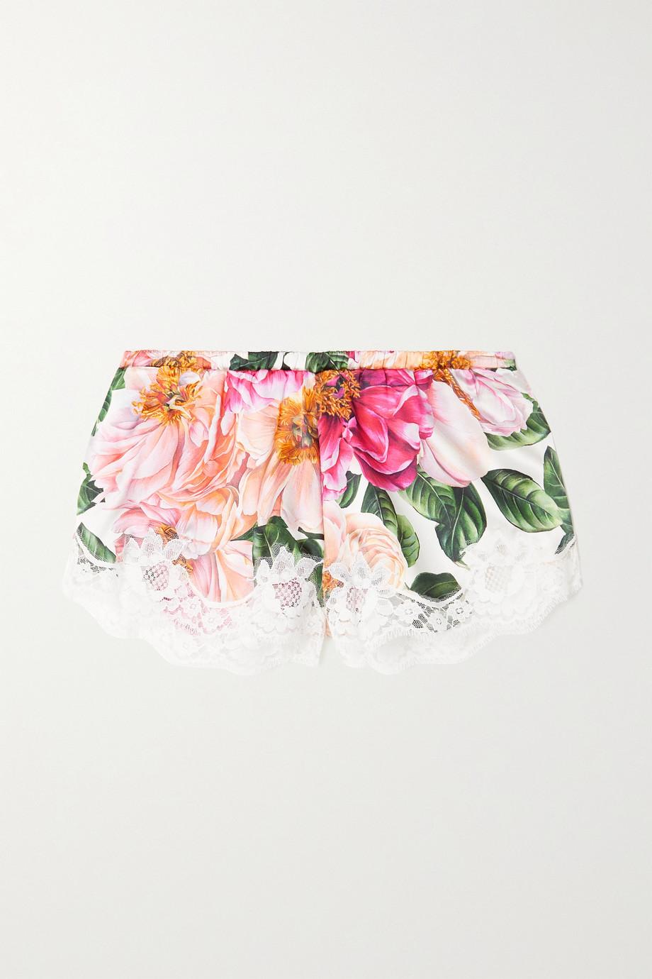 Dolce & Gabbana Short en satin de soie à imprimé fleuri et à finitions en dentelle