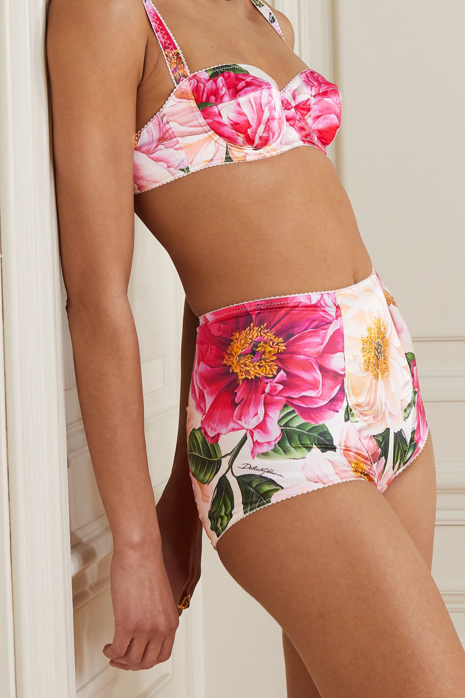 Dolce & Gabbana Floral-print stretch silk-satin briefs