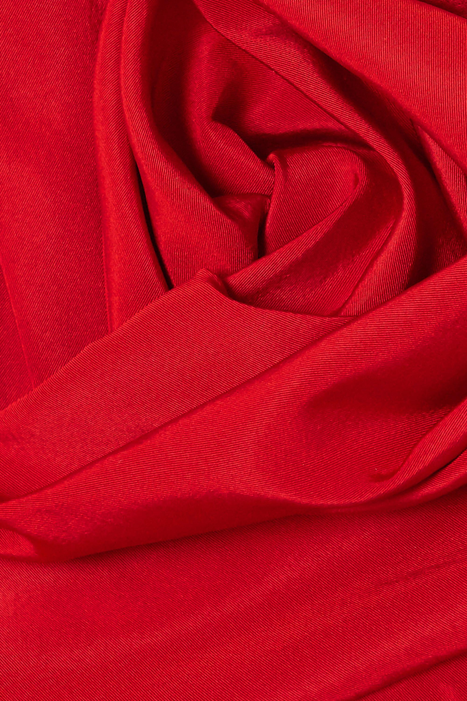 Marchesa Draped silk-faille strapless gown