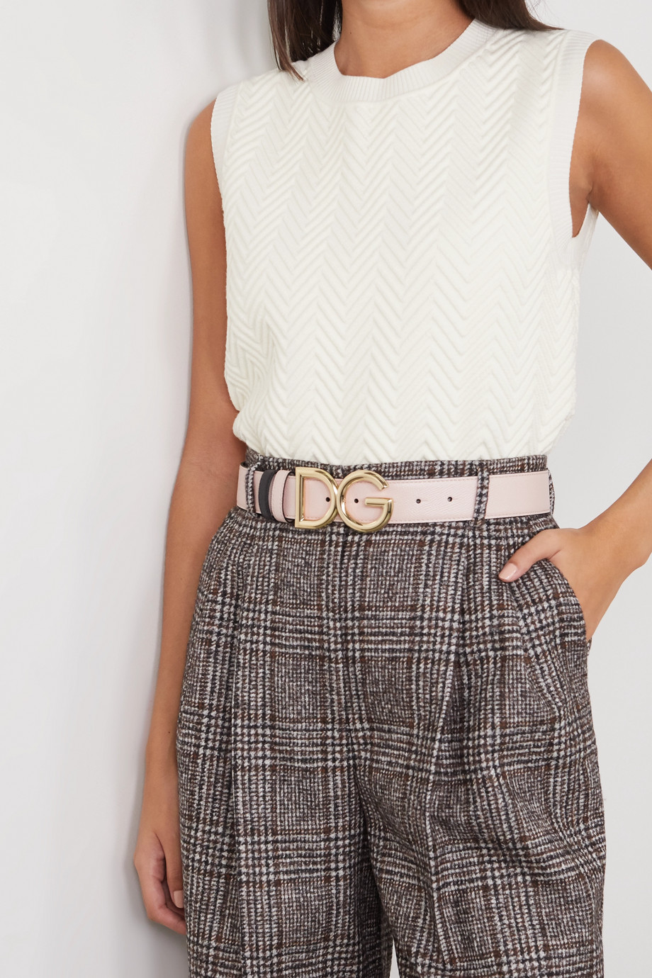 Dolce & Gabbana Reversible textured-leather belt