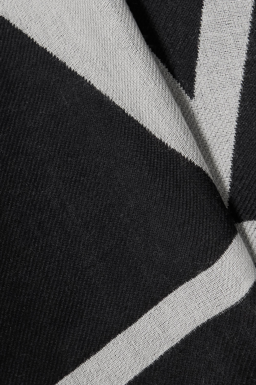 Valentino Valentino Garavani fringed intarsia wool, cashmere and silk-blend poncho