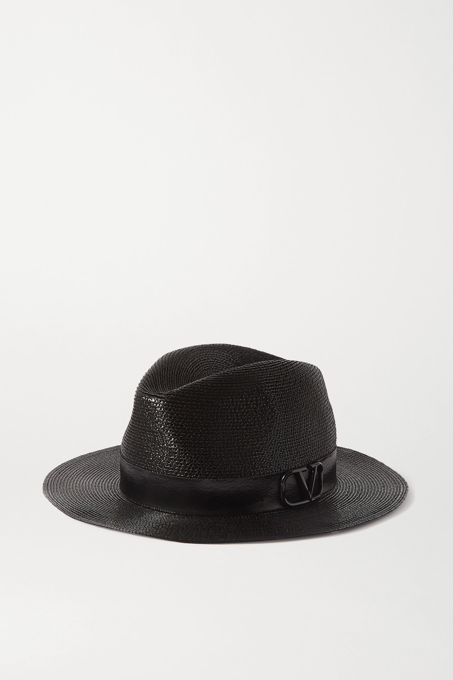 Valentino Embellished grosgrain-trimmed faux straw fedora