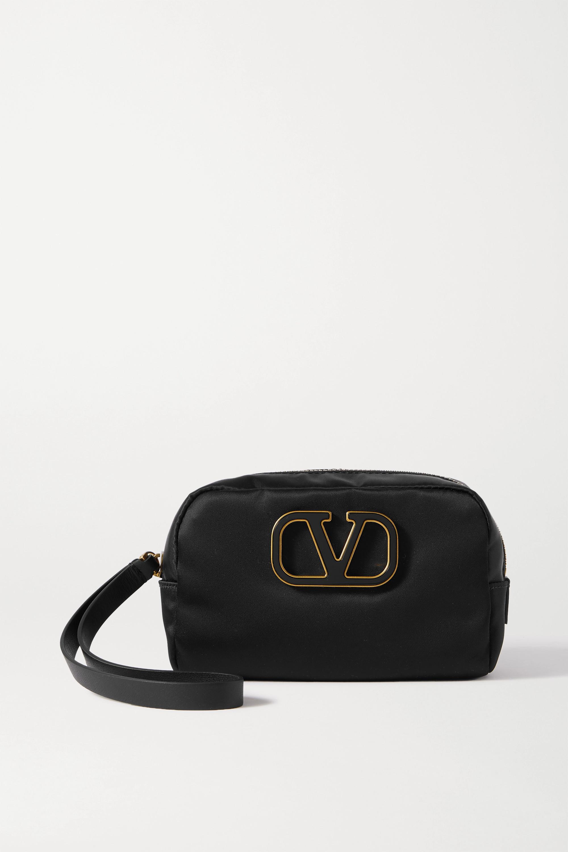 Valentino Garavani Small Embellished Nylon Cosmetics Case In Black