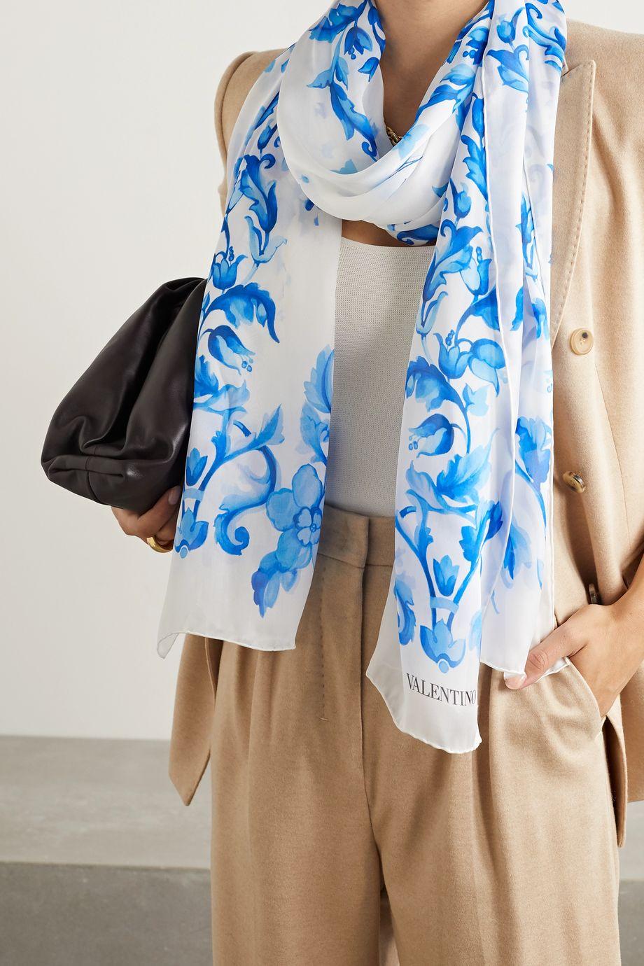 Valentino Valentino Garavani printed silk-chiffon scarf