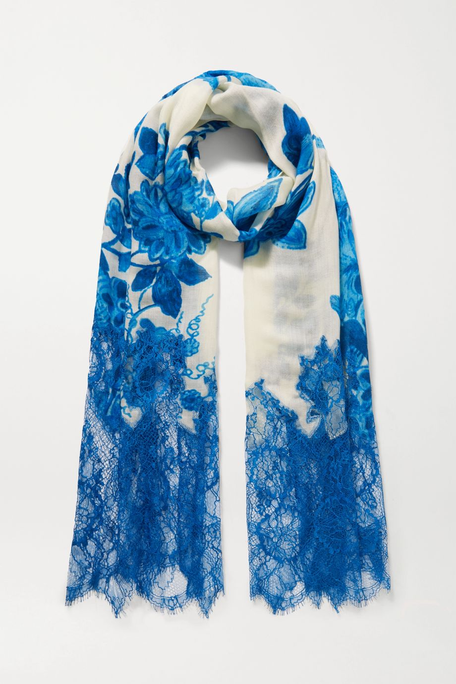 Valentino Valentino Garavani lace-paneled floral-print cashmere and wool-blend scarf