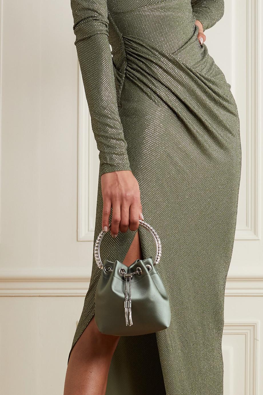 Jimmy Choo Bon Bon crystal-embellished satin bucket bag
