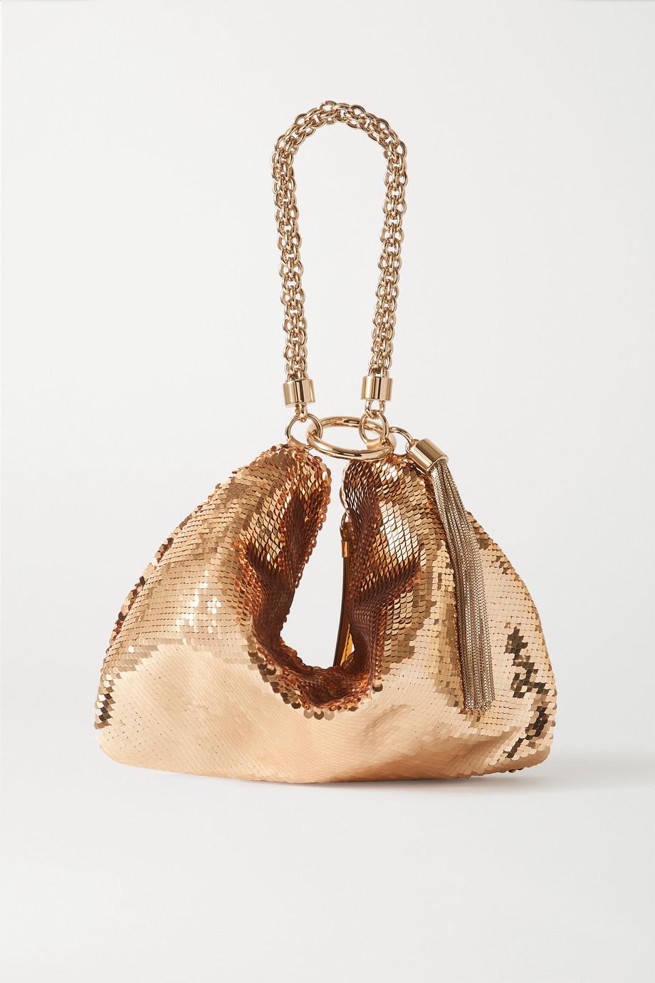 Jimmy Choo Callie tasseled sequined satin shoulder bag