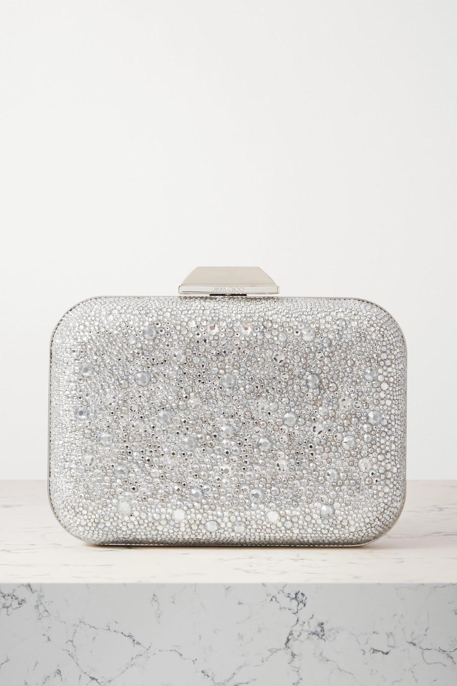 Jimmy Choo Cloud crystal-embellished metallic suede clutch
