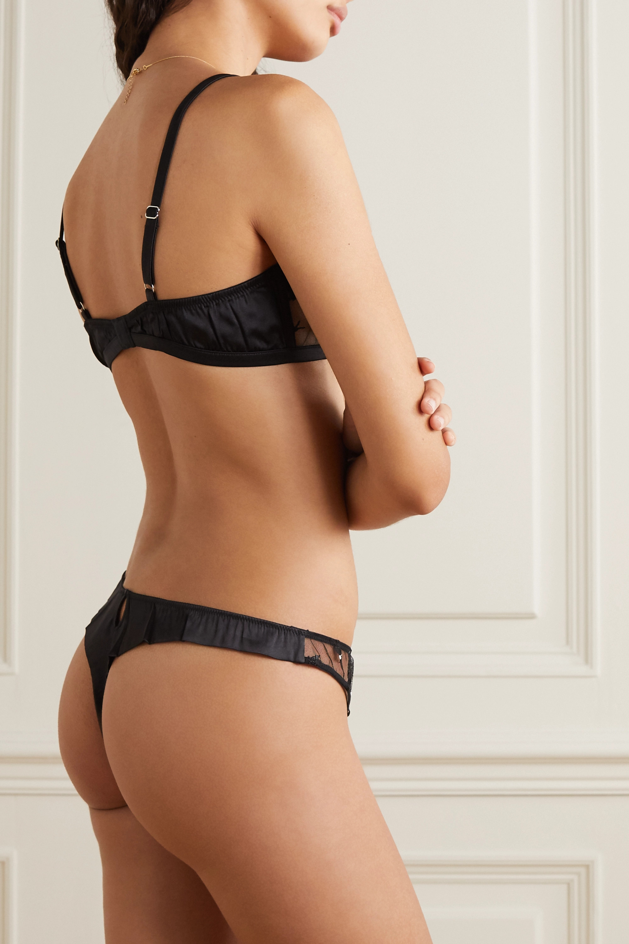 Fleur du Mal Embroidered tulle and silk-blend satin soft-cup bra