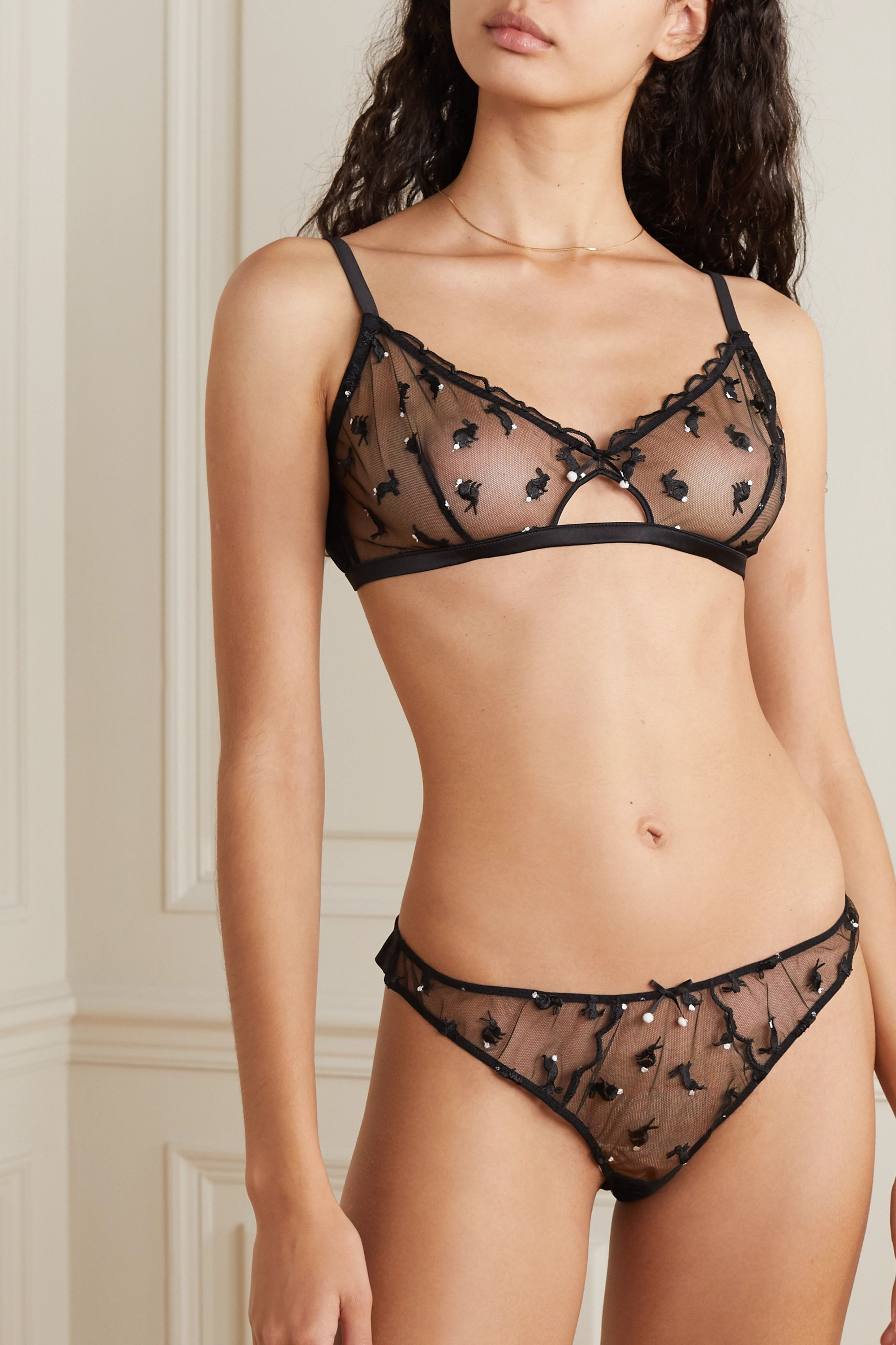 Fleur du Mal Embroidered tulle and silk-blend satin thong