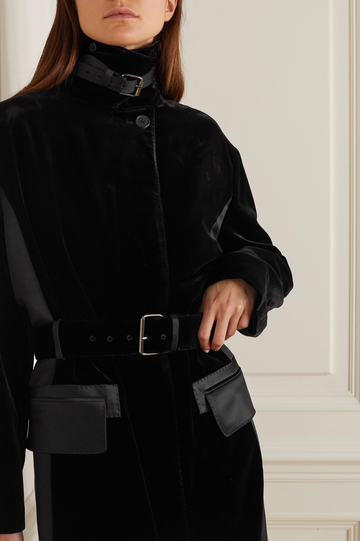 TOM FORD Belted velvet and silk-satin coat