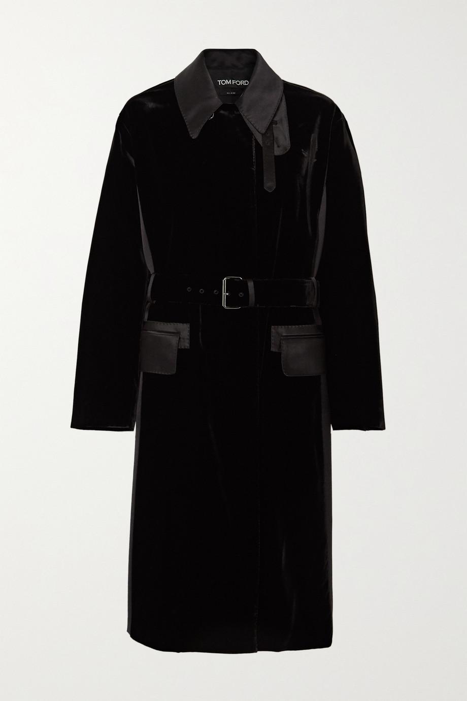 TOM FORD Mantel aus Samt und Seidensatin mit Bindegürtel