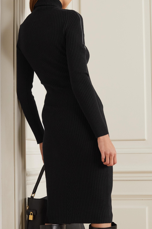 TOM FORD Zip-detailed ribbed wool-blend turtleneck dress