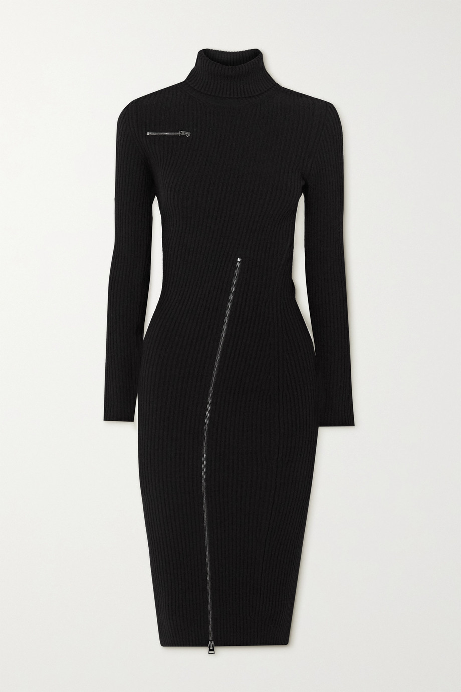 TOM FORD Zip-detailed ribbed wool-blend turtleneck dress