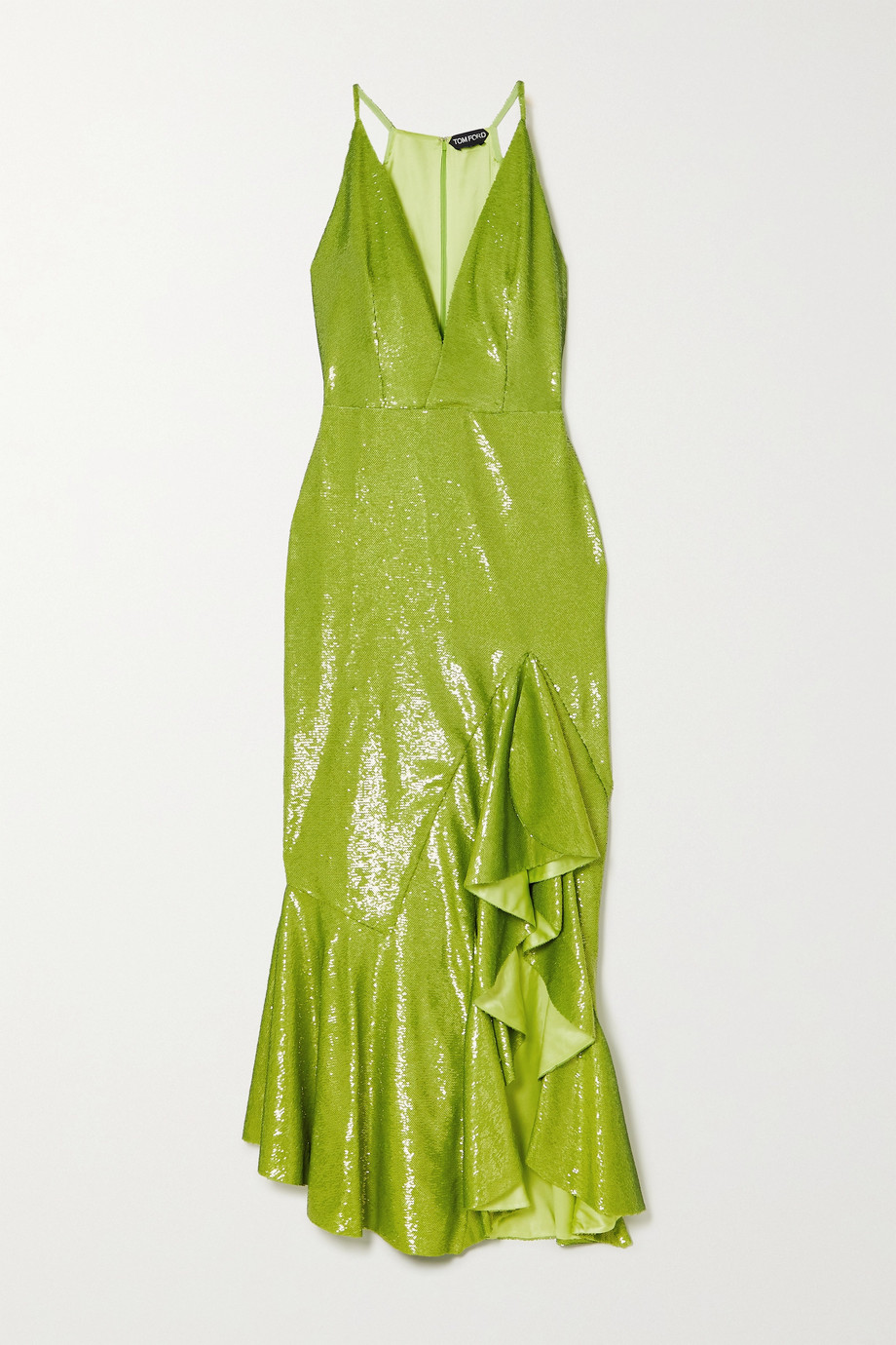 TOM FORD Ruffled sequined satin gown