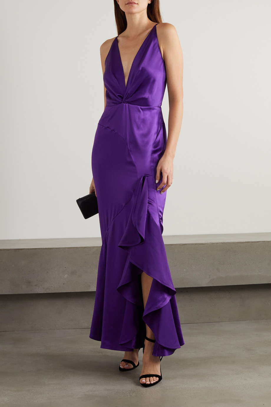 TOM FORD Ruffled silk-satin gown