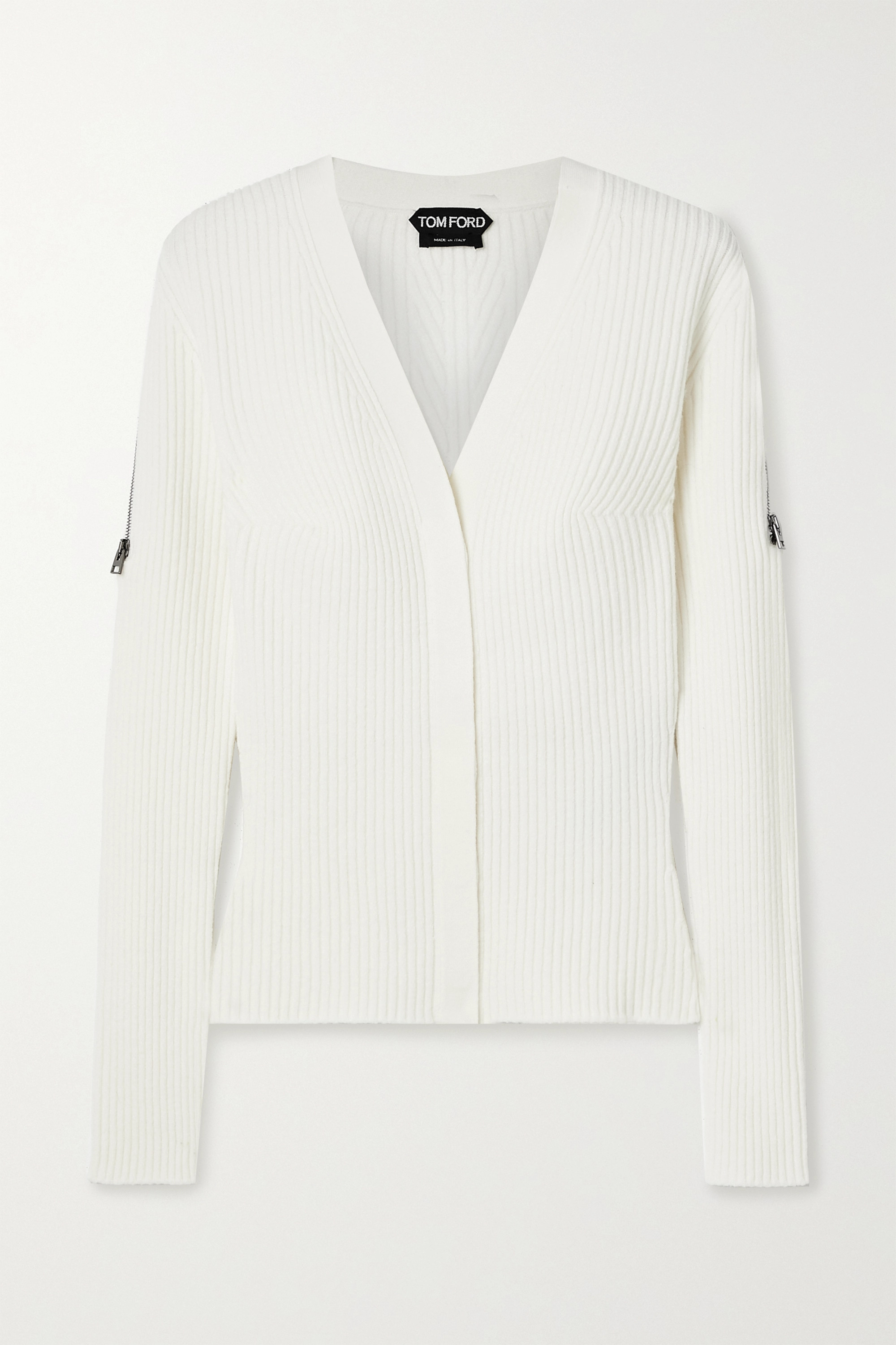 TOM FORD Zip-embellished ribbed wool-blend cardigan