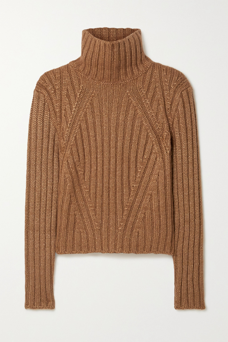 TOM FORD Ribbed silk, mohair and cashmere-blend turtleneck sweater