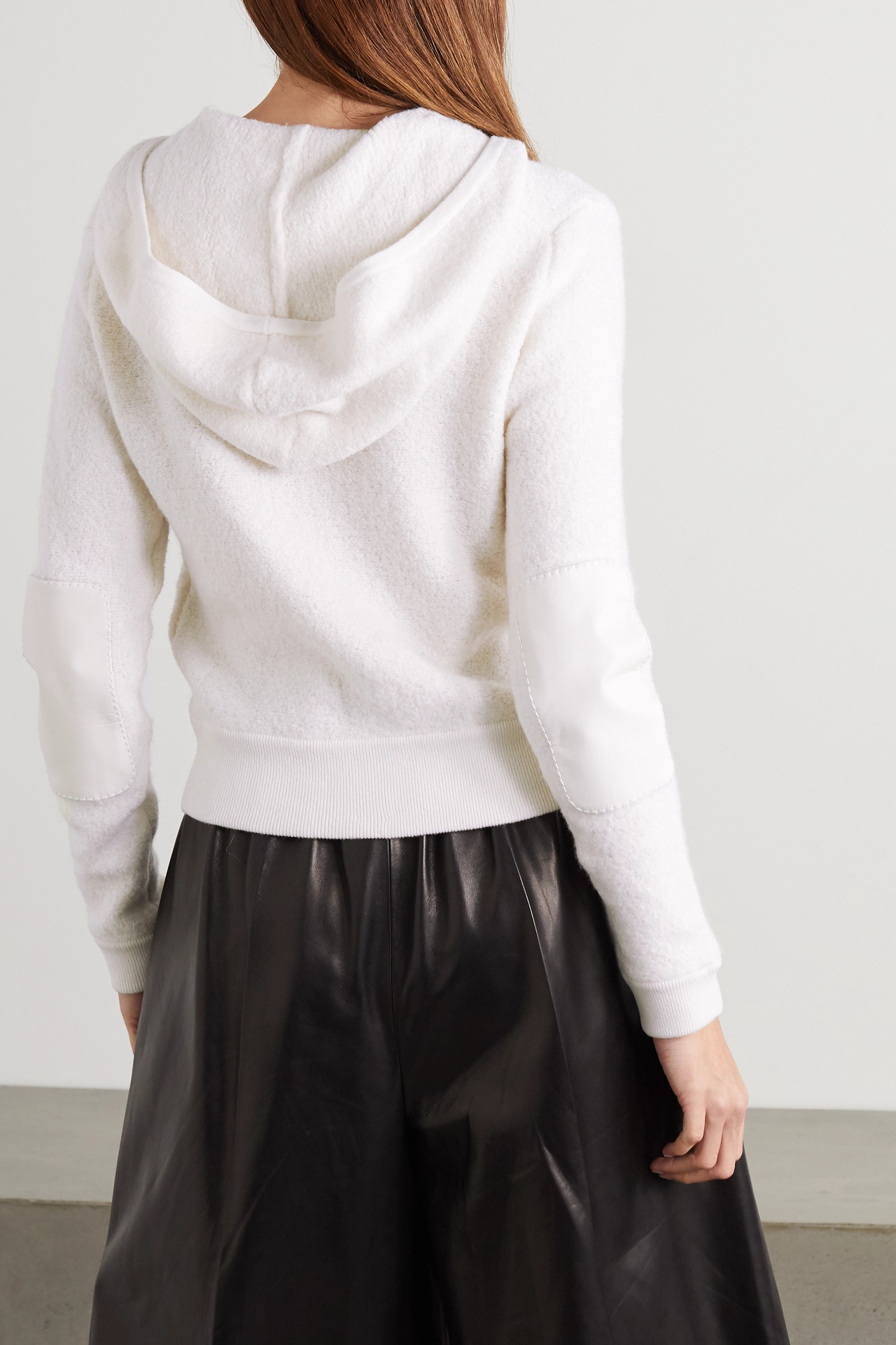 TOM FORD Leather-trimmed cashmere-blend bouclé hoodie