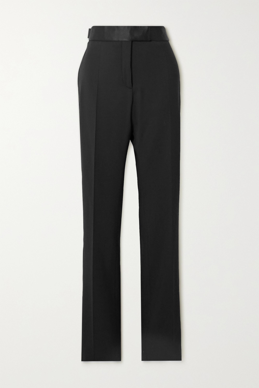 TOM FORD Silk satin-trimmed wool-blend straight-leg pants