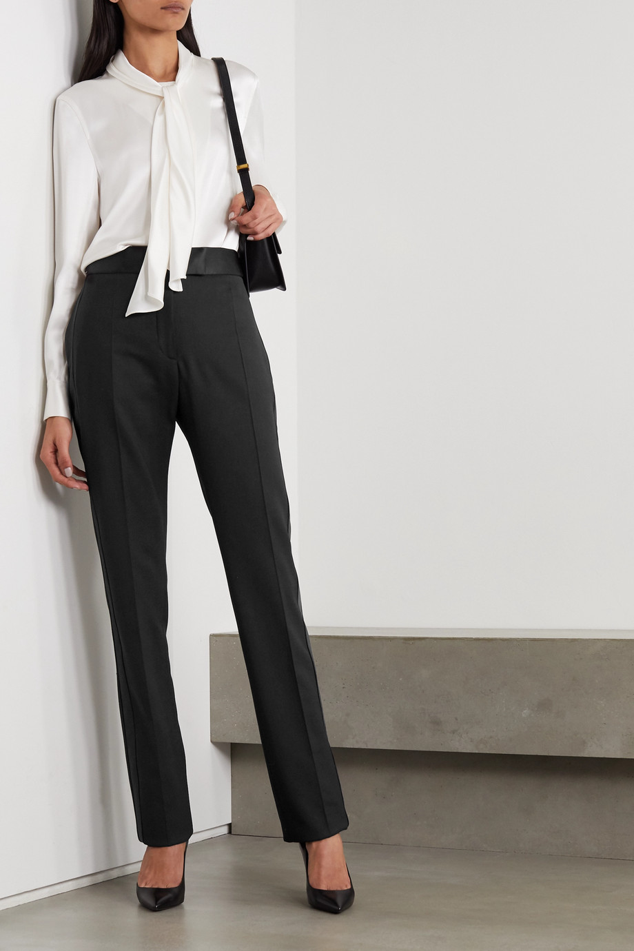 TOM FORD Silk satin-trimmed wool-blend straight-leg pants