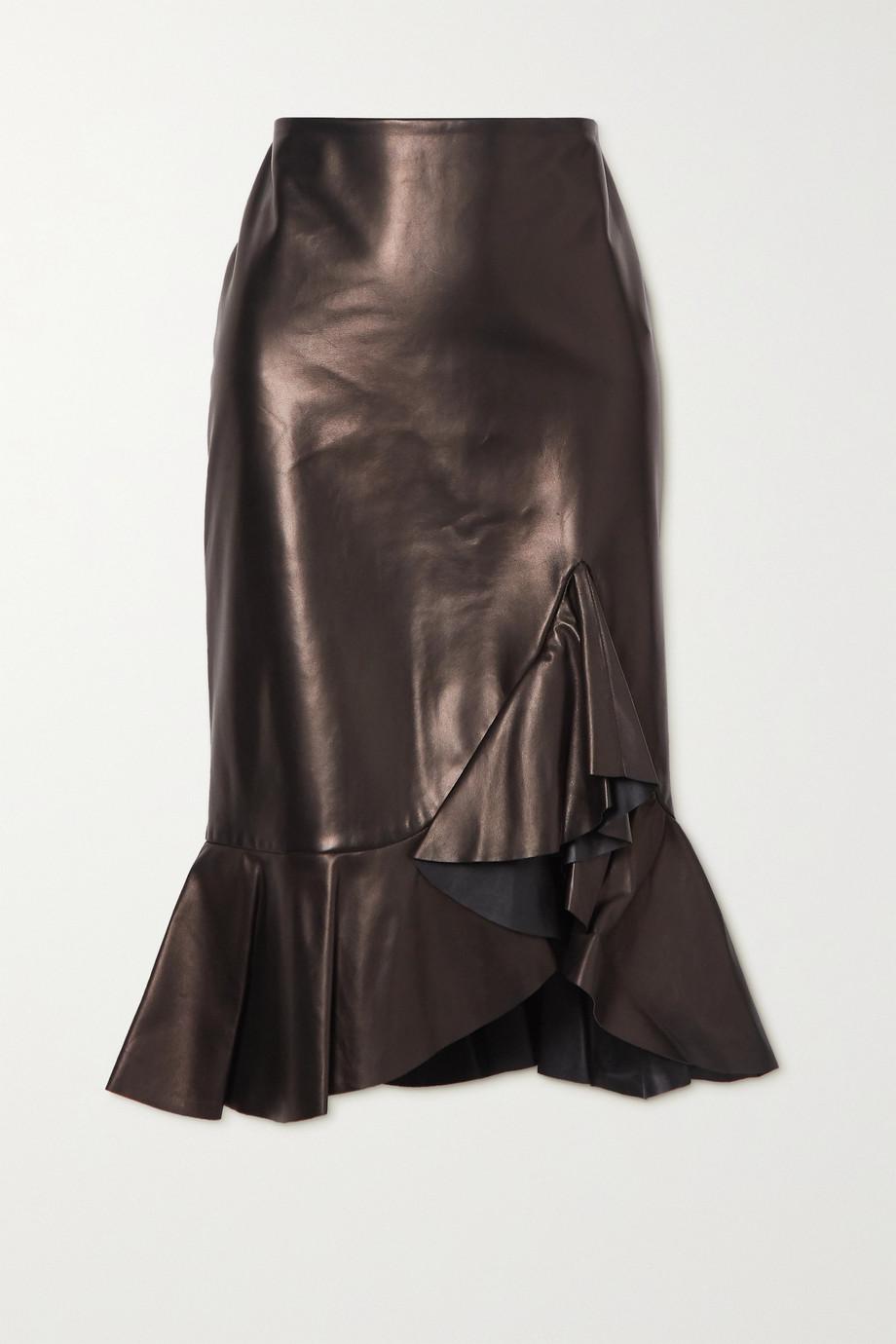TOM FORD Ruffled leather midi skirt