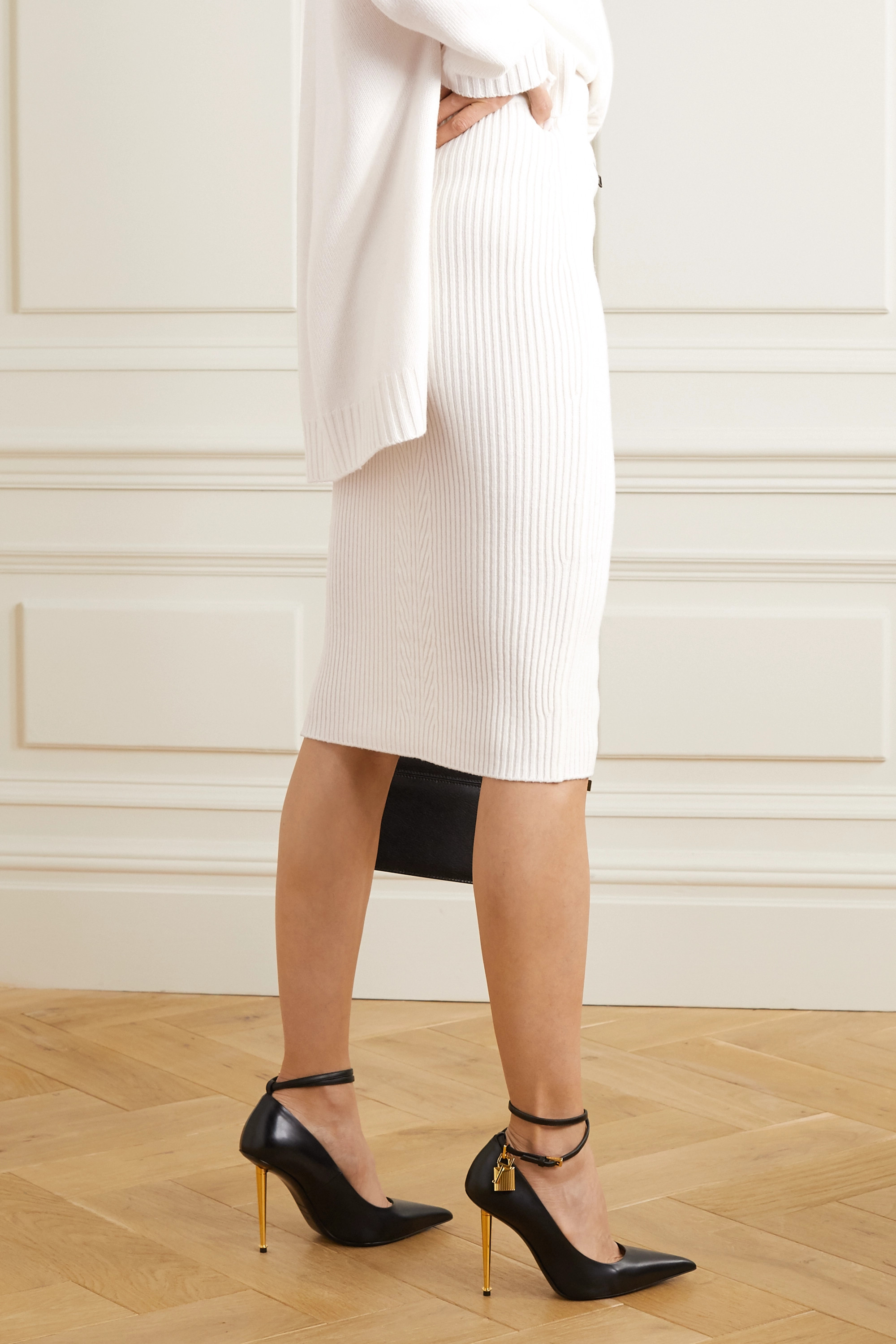 TOM FORD Ribbed wool-blend midi skirt