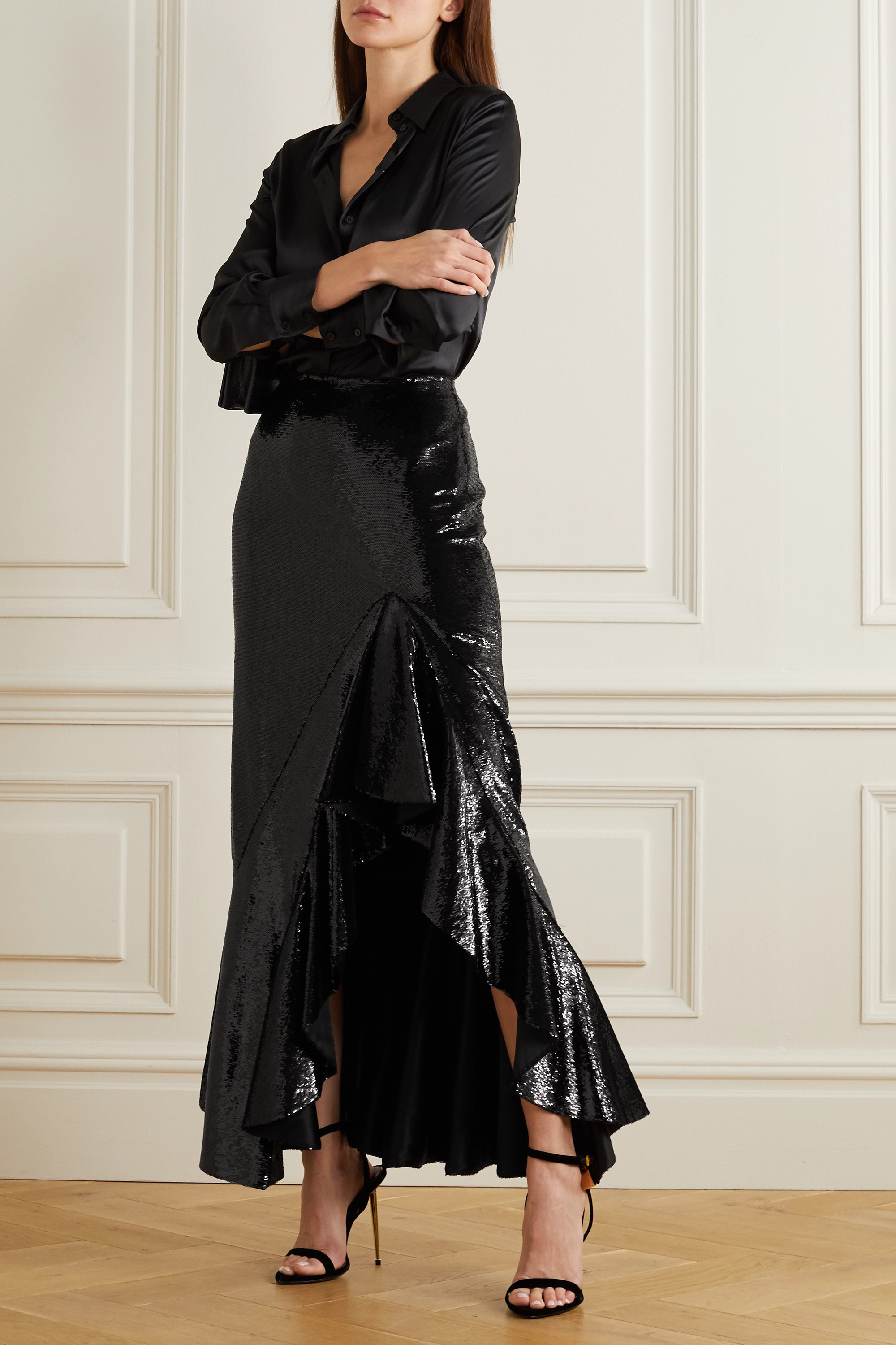 TOM FORD Ruffled sequined satin maxi skirt