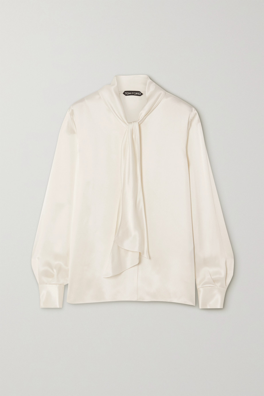 TOM FORD Pussy-bow washed-satin blouse